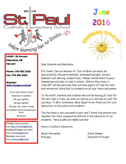 June 2016 St. Paul School Newsletter