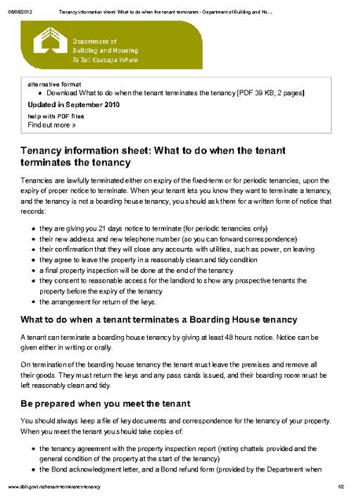 What to do when the tenant terminates