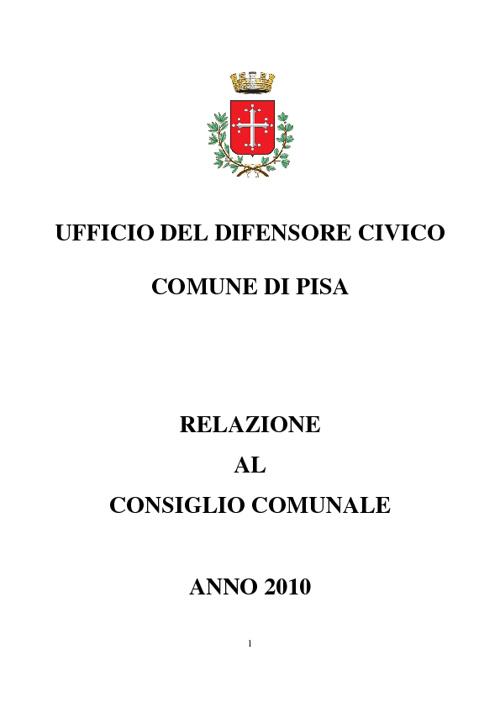 Difensore Civico - Relazione annuale anno 2010