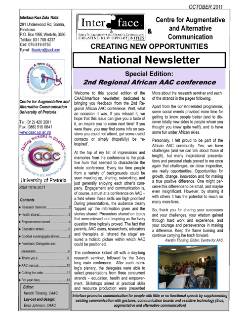 CAAC Interface newsletter Oct 2011