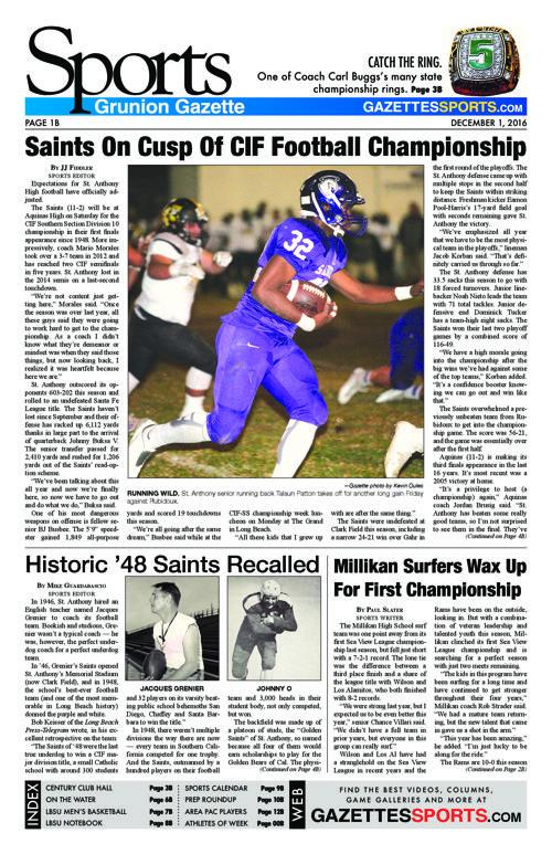 Gazette Sports  |  December 1, 2016