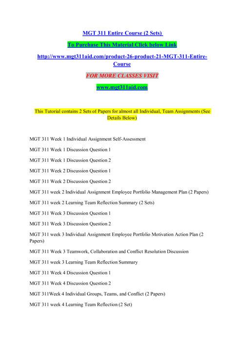 MGT 311 AID Entire Course /mgt311aid.com