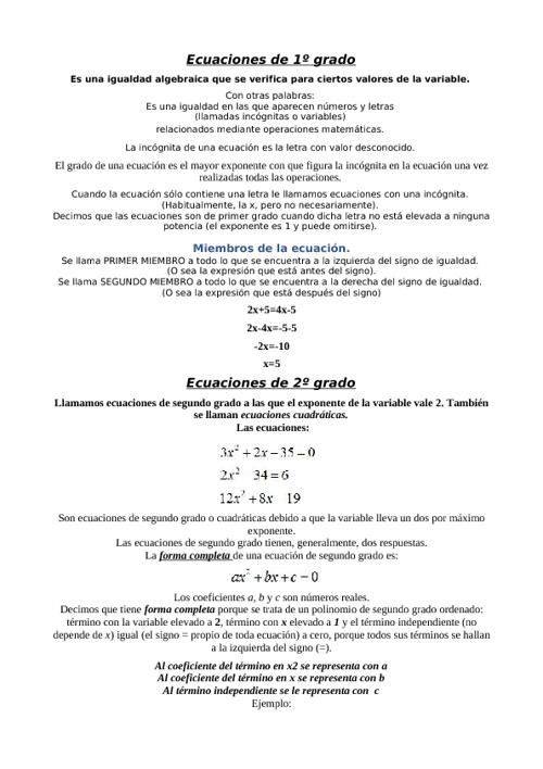Ecuaciones de 1º y 2º grado
