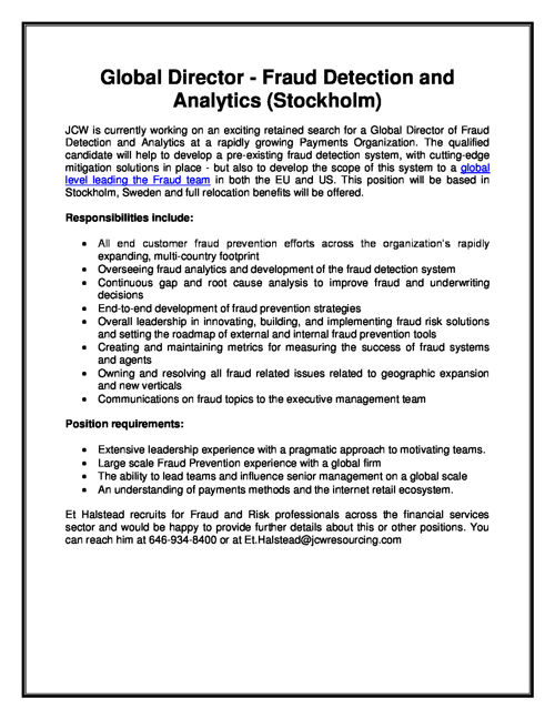 Global Director - Fraud Detection and Analytics (Stockholm)