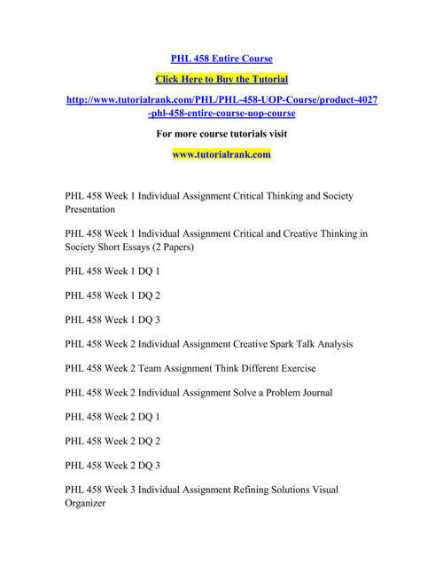PHL 458 Course Extraordinary Success/ tutorialrank.com