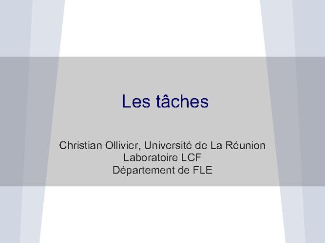 """""""Les tâches"""" par C. OLLIVIER"""