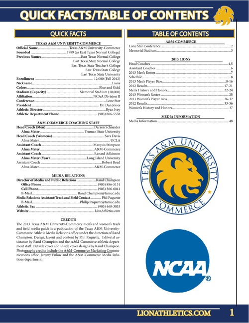 2013 A&M-Commerce Track and Field Yearbook