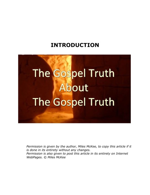 The Gospel Truth: Intro