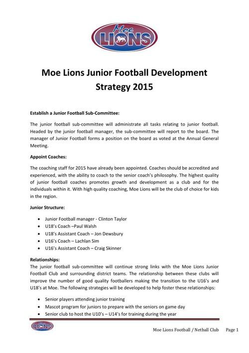 Moe Junior Football Development Strategy 2015