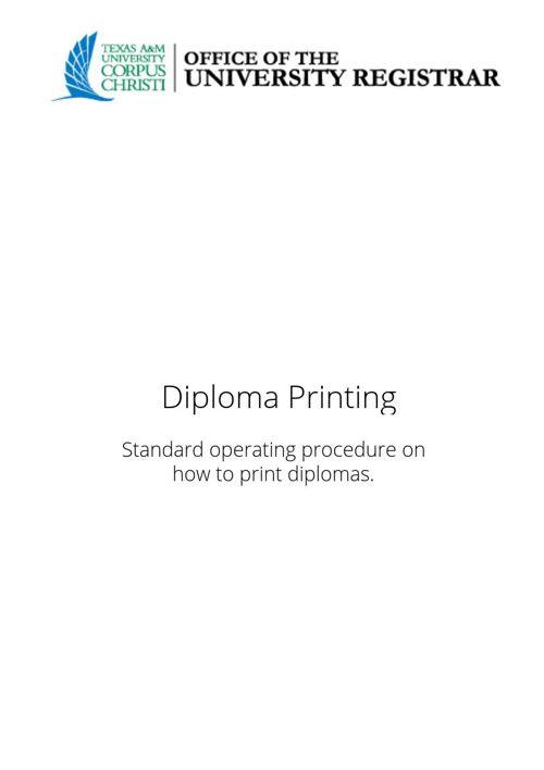 Diploma Print Out