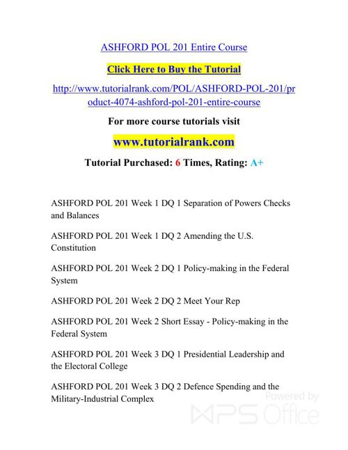 POL 201 ASH Courses /TutorialRank