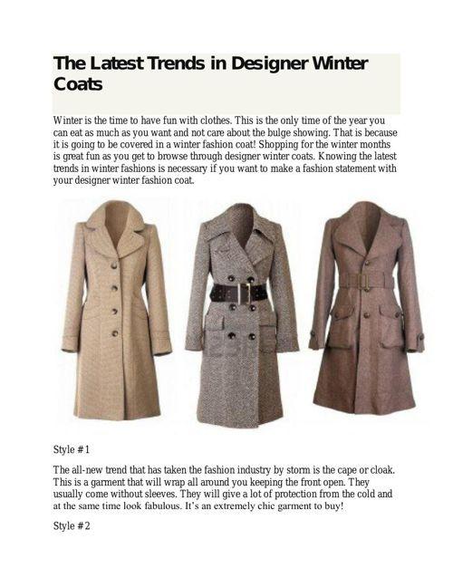 The Latest Trends in Designer Winter Coats