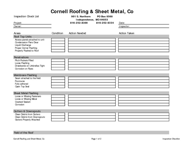 Cornell Roofing - Inspection Checklist
