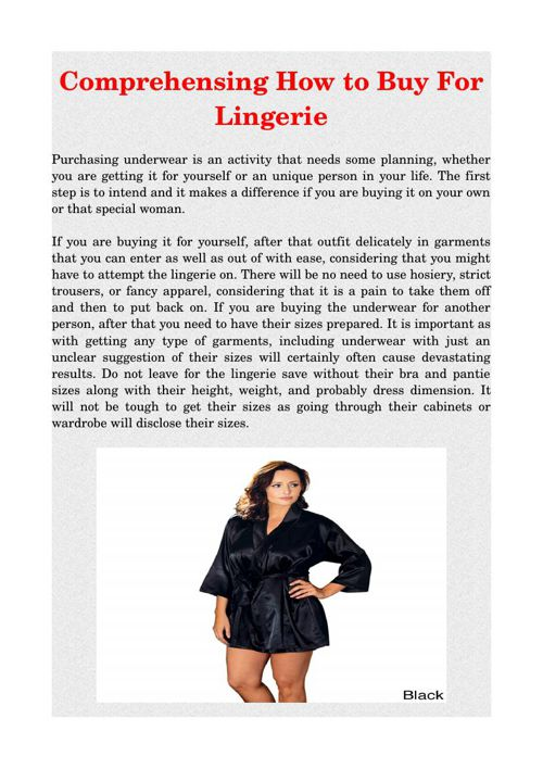 Comprehensing How to Buy For Lingerie