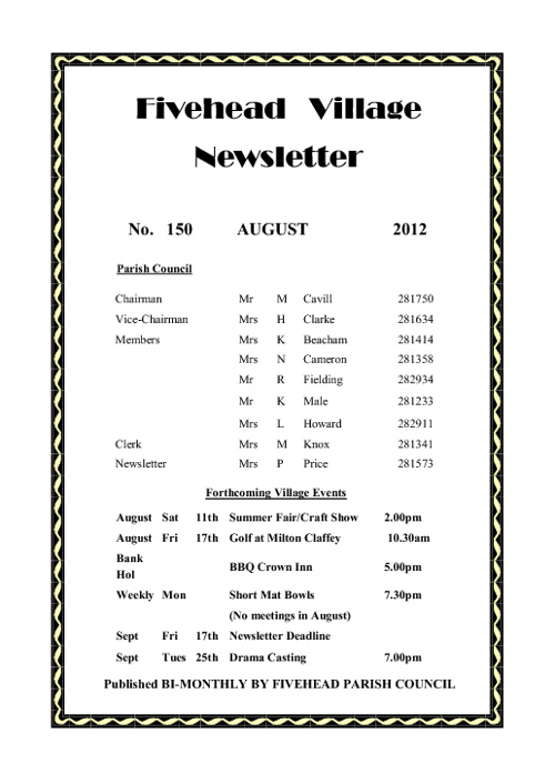 Fivehead Village Newsletter August 2012