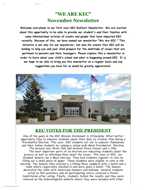 We Are KEC -- November Newsletter