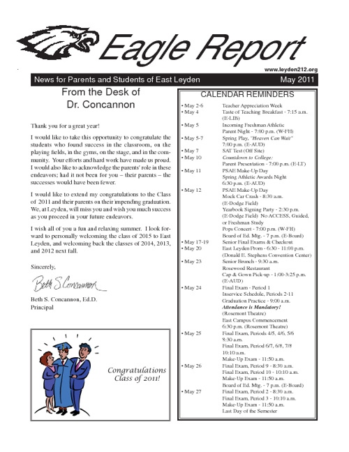 East Leyden Principal's Newsletter - May 2011