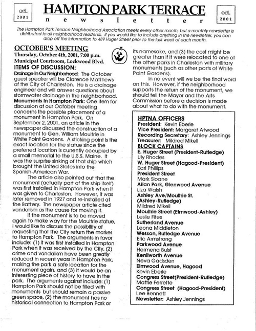 HPT Neighborhood October 2001