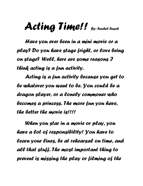 Acting Time by Rachel R