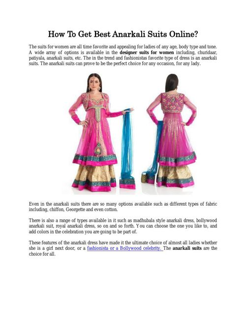 How To Get Best Anarkali Suits Online