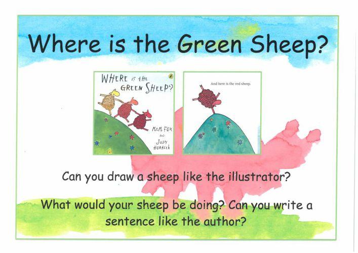 Where is green sheep?