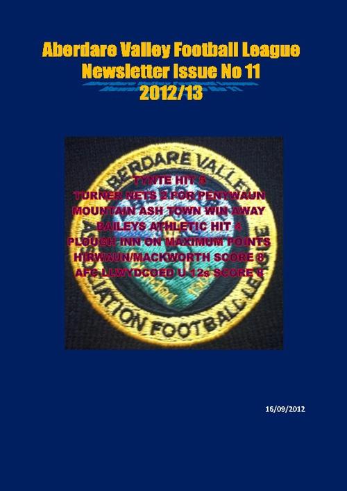 ABERDARE VALLEY FOOTBALL LEAGUE NEWSLETTER ISSUE 11