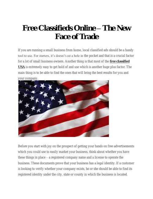 Free Classifieds Online – The New Face of Trade