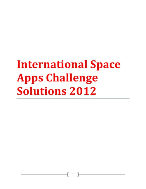 International Space Apps Challenge Solutions 2012