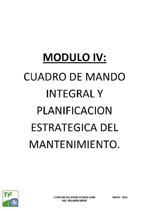 MODULO IV: CMI Y PLANIFICACION DEL MANTENIMIENTO
