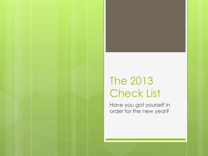 2013 Check List