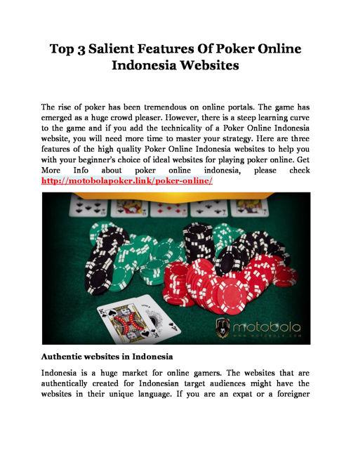 Top 3 Salient Features Of Poker Online Indonesia Websites