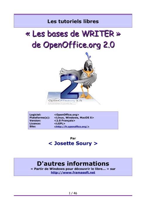 Traitement de texte Open Office, Libre Office