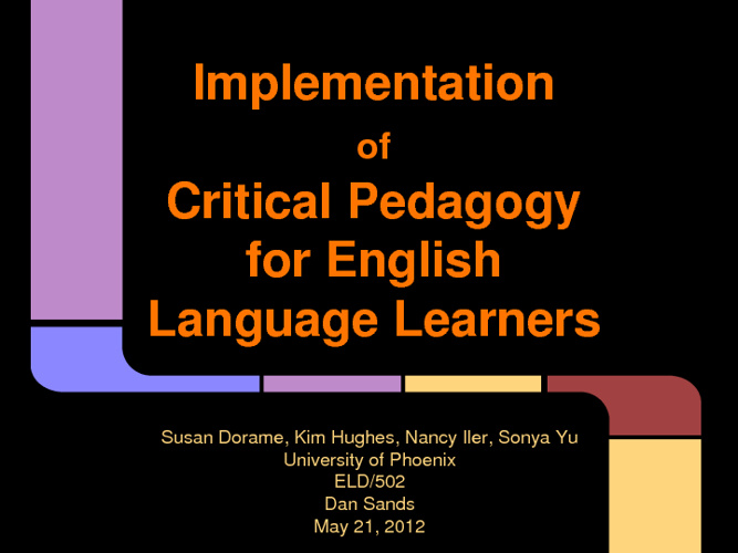 Implementation of Critical Pedagogy for English Language Learner