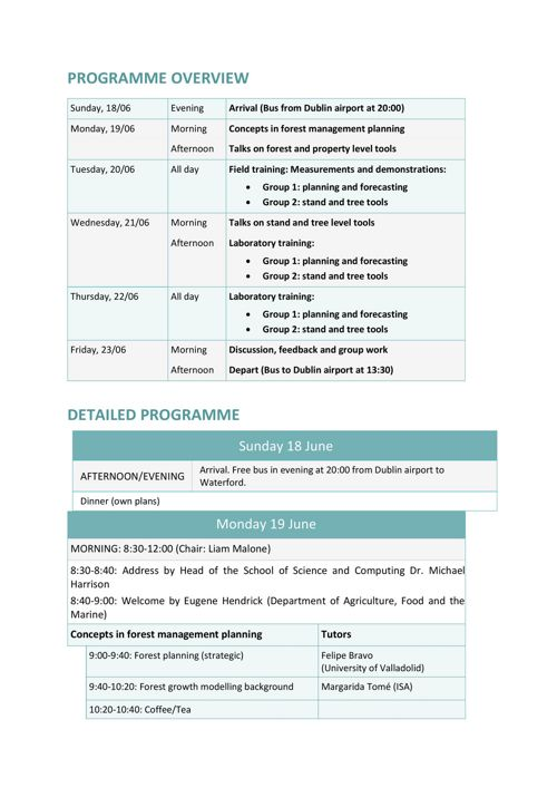 Forestry Summer School Programme Overview