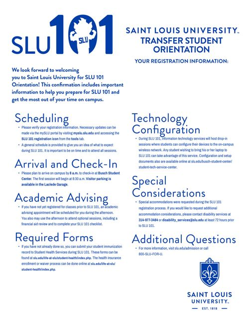 SLU101 Transfer Registration Confirmation Letter_2017-18