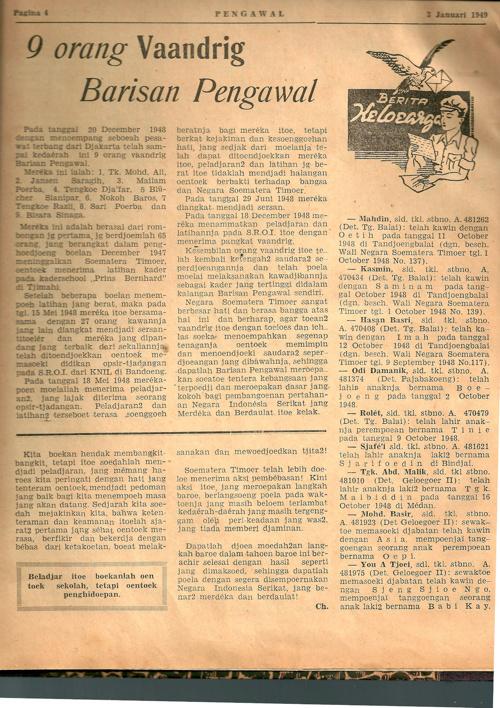 Majalah Barisan Pengawal No. 1, 3 Januari 1949