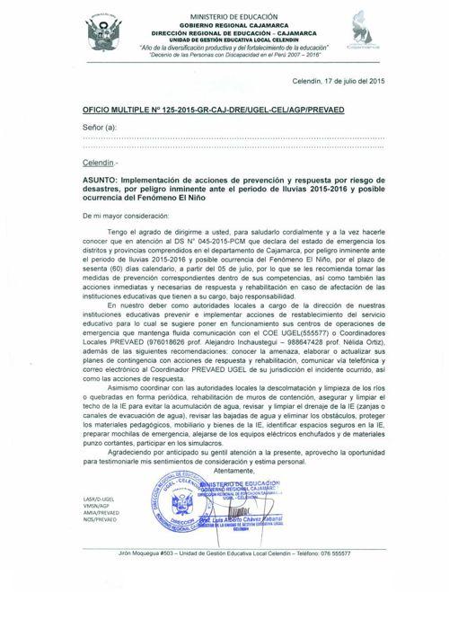 OficioMultiple_N° 125_Fenomeno El Niño