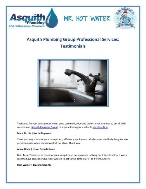 Asquith Plumbing Group Professional Services Testimonials