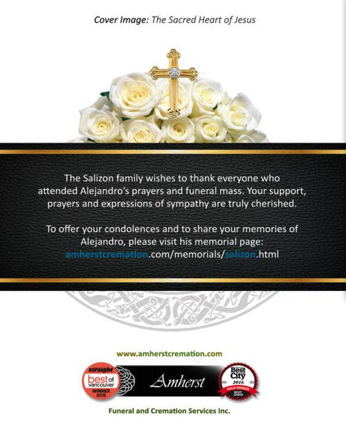 Memorial Card for Alejandro Salizon