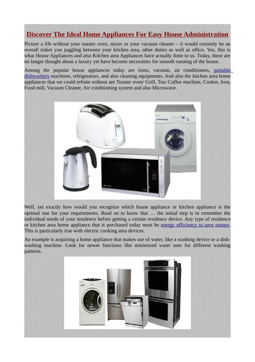 Discover The Ideal Home Appliances