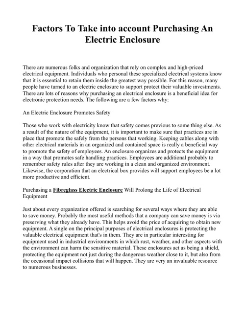 Factors To Take into account Purchasing An Electric Enclosure