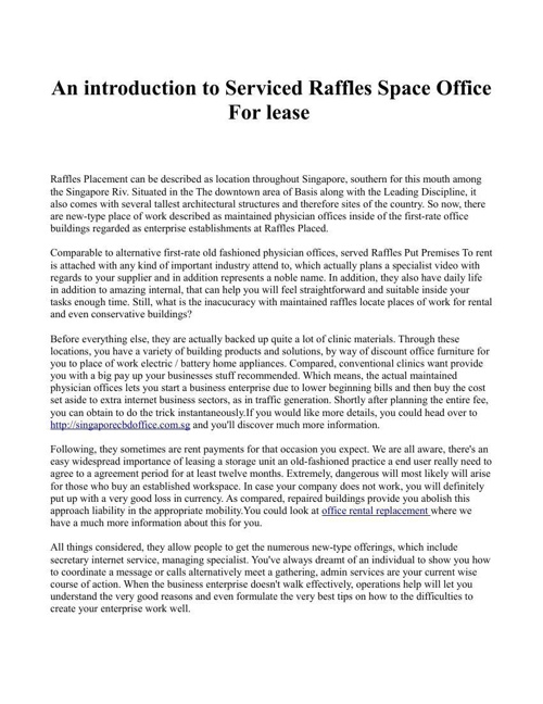 An introduction to Serviced Raffles Space Office For lease