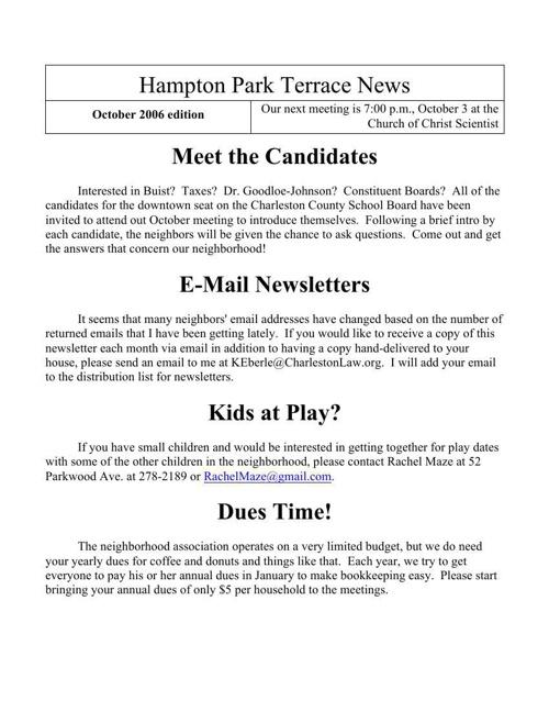 HPT Newsletter October 2006
