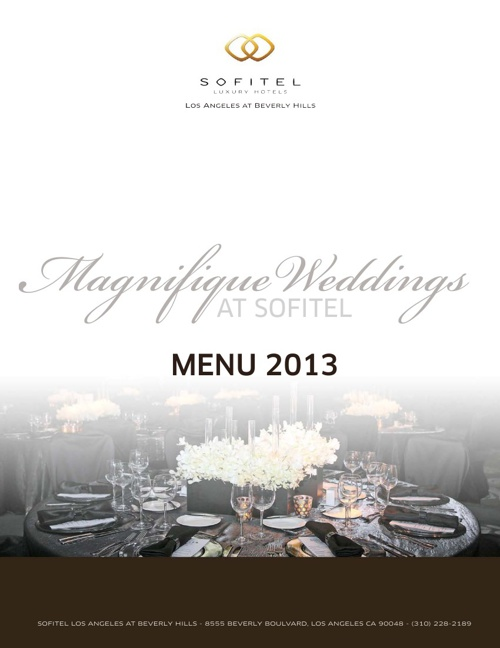 SOFITEL Wedding Menu 2013