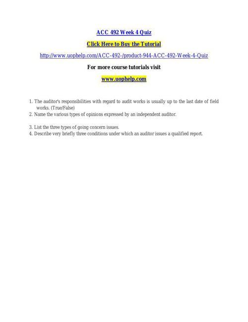 ACC 492 Week 4 Quiz