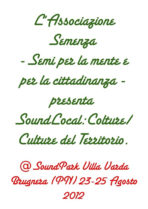 SoundLocal:Colture/Culture del Territorio @SoundPark Brugnera