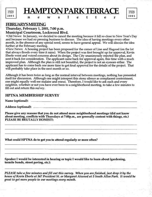 HPT Newsletter February 2001