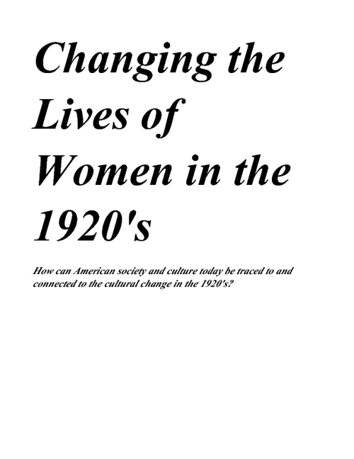 changing the lives of women in the 1920's