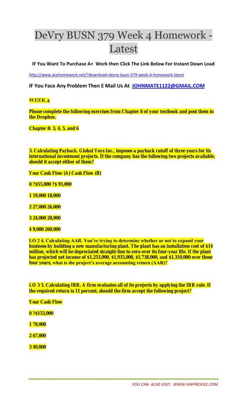 DeVry BUSN 379 Week 4 Homework - Latest