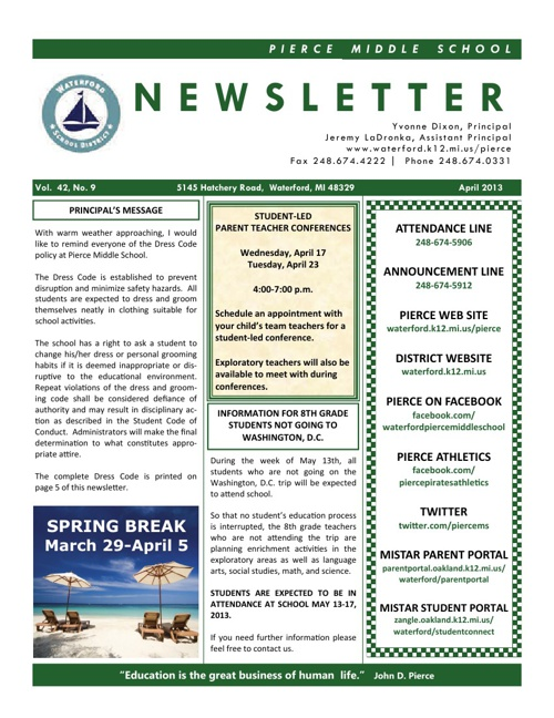 Pierce April 2013 Newsletter